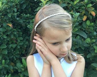 Rhinestone Crystal Pearl Flower Girl Headband, wedding headband, wedding headpiece, rhinestone tiara, Harley Pearl Flower Girl Headband
