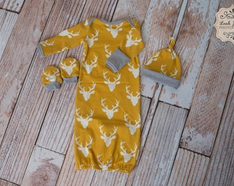 Deer Baby Gown, Mitts, and Hat Baby Shower Gift/ Hunting Baby Gown/ Deer/Buck Horns Grey Trim Baby Gown
