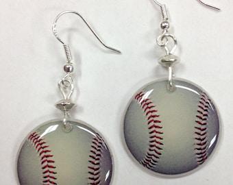 Baseball Sports Themed Earrings, Baseball Mom Earrings - on sterling silver earwires