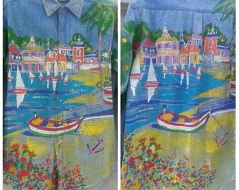 Hand Painted Denim Button Front Shirt Sailboats Nautical Sz S