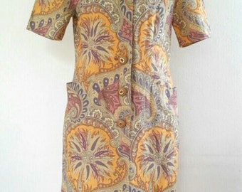Vintage CODE 4129 Vivid Luxe Cotton print Dress Size 9A3 will fit Medium