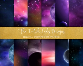 Digital Scrapbook Paper - Space & Galaxy - 12 Papers in .JPEG File - INSTANT DOWNLOAD