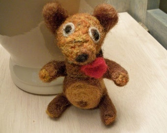 Handmade Teddy Bear, Needle Felted Teddy Bear, Wool Bear
