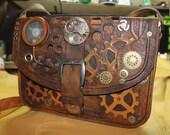Steampunk leather bag, Handmade steampunk leather satchel bag