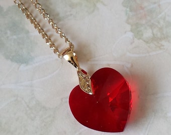 Red Crystal Heart Necklace - Crystal Heart Necklace - Heart Necklace - Gift for Her - Valentines's Gifts - Red Heart Necklace - Jewelry Gift