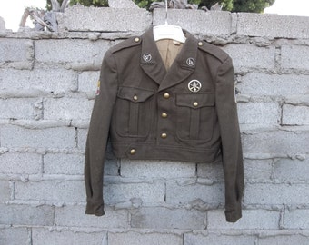 Vintage Military Wool Jacket Green France sz fits Small Cropped