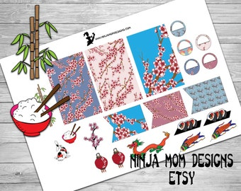 Cherry Blossom and Asian Elements Stickers- Perfect for Planners- 2 Sizes Available