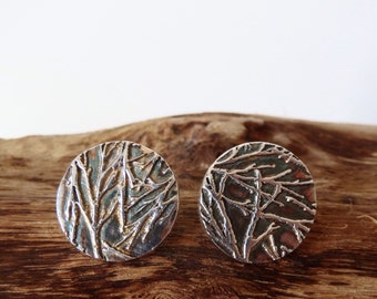 Branch circle fine silver stud earrings