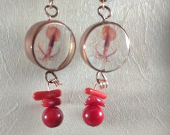 Squid copper and resin drop earrings