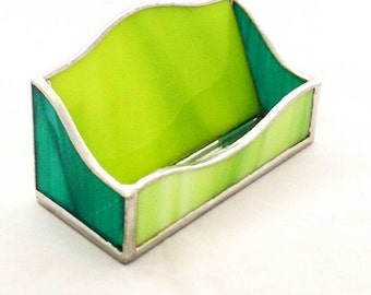 Stained glass business Card holder, leadlight green desk organisers, teal card display, office organiser,