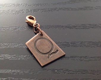 Asymmetrical Antiqued Copper Initial Charm for Midori Notebook or Planner
