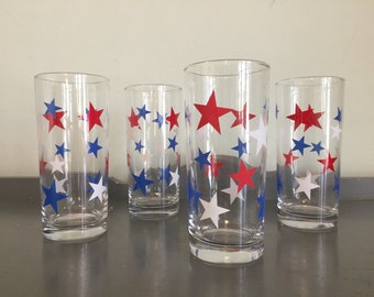 Four Red, White & Blue Star High Ball Glasses / Tumblers