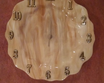 Gorgeous Swirl Tan Stained Glass Dinner Plate Size Clock