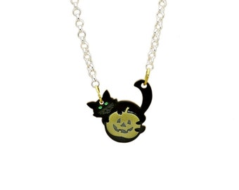 Black Cat and the pumpkin Charm necklace