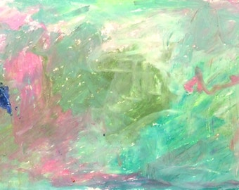 Original Abstract Artwork on acid free archival paper. Oil Pastels in purple, green and blue. Home decor, mini painting.
