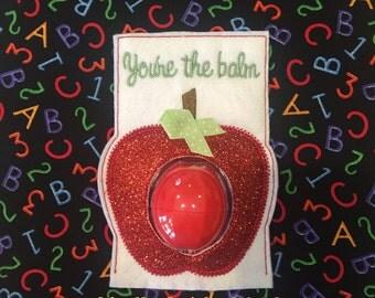 Red Glitter Vinyl Apple EOS Lip Balm Teacher Gift