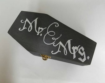 Ring Box for Halloween Theme Wedding; Coffin Ring Box; Custom Halloween Ring Box; Halloween Ring bearer's pillow