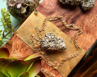 OOAK Simple Wire Wrapped Pyrite Necklace