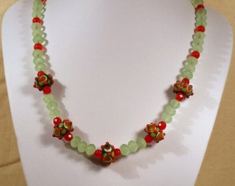 Lampwork Glass Necklace with Green and Orange, handmade jewellery gifts for her jewelry