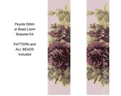 Peyote Stitch or Bead Loom Bracelet Kit P28 - Tapestry Roses - Pattern for Bead Loom or Peyote Stitch Bracelet and All Beads Included