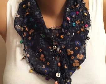 Blue Floral Scarf, Lace Scarf, Women's Fashion, Easter Gift, Bridesmaid Gift, Floral Cotton Headband, Birthday Gift, Floral Pattern Scarf