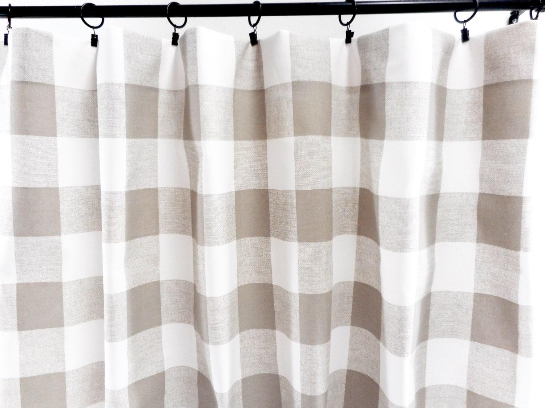 Ecru White Panel Curtain Ecru Buffalo Check Curtain 2