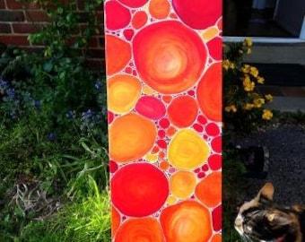 Pebbles at Sunset original painting, acrylic, 100cm x 30cm, abstract art, modern art, stunning, Karen J Jones, unique, art gift