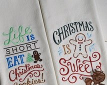 Christmas Dish Towel Set with Gingerbread Man Ornament - Embroidered Christmas Kitchen Towel - Christmas Kitchen Decor