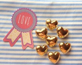9 Pcs Gold Heart Buttons