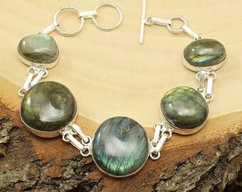 Labradorite Bracelet, Silver Labradorite Bracelet, Labradorite Gemstone Bracelet, Labradorite Boho Bracelet, Labradorite Crystal Bracelet