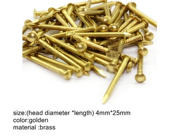 Brass Made:50 Pcs 4mmX25mm Golden Color Chinese Style Of The Brass Nails  Round Head Nails Furniture Nails Antique Nails