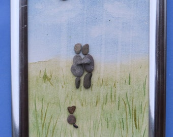 Hold Me Close Pebble Art Canvas - Approx 13cms x 18cms