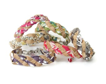 Braided Bracelet, made of natural materials, Cork bracelet for her, Liberty fabrics, hypoallergénic jewel, vegan leather, floral liberty,