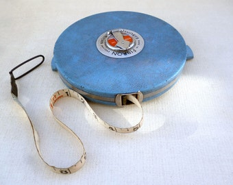Vintage Surveyors Tape, Hard Cased Measuring Tape, Tape Measure, Rabone Chesterman, 100 Feet, Imperial Measure, Rabone Tape Measure