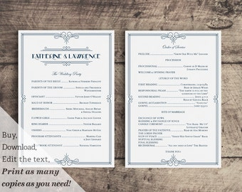 Printable Wedding Ceremony Program Template in Gatsby 1920s Navy Blue