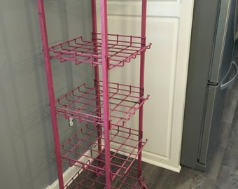 Vintage Metal Kitchen Rack Dish Storage Pantry Industrial Shocking Pink
