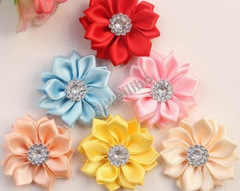 Satin Ribbon Flower With Rhinestone, DIY Multilayers Flower , Hair Accessories / Garment Accessories