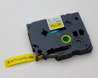12mm (1/2) Laminated Black on Yellow Tape for P-touch Printer (26.2')