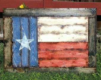"""Framed Wooden Rustic-Style Texas Flag 28""""x39"""""""