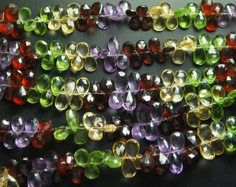 7'' Full Strand, Super Finest, Multi Tundra Sapphire Faceted Pear Briolettes, Size 7-8mm
