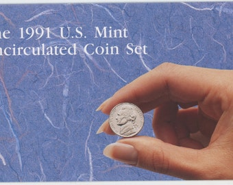 10 coin, 1991 United States Mint MS-65 Uncirculated coin set.  1471A