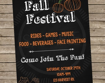 8x10 Personalized Fall / Harvest / Halloween Festival Flyer / Banner / Sign