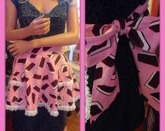 Pink Ice Cream Sandwich Apron with Pockets and Ruffles