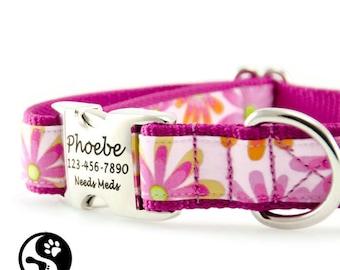 Flower Power Personalized Dog Collar, Laser Engraved Name Plate Dog Collars, Large Dog, Small Dog, Girl Dog