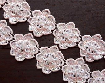 One vintage pearl beaded pink lace flower