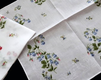 White cotton vintage handkerchief with flowers set of two
