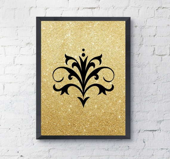 Wall Decor With Glitter : Items similar to fleur de lis wall decor gold glitter