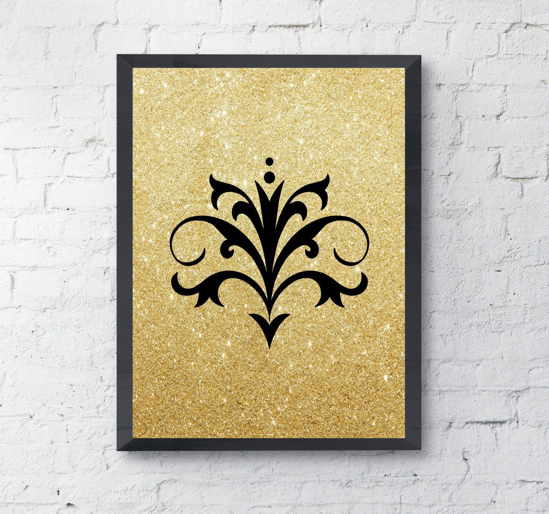 Fleur de lis wall decor gold glitter wall art fleur de lis for Fleur de lis wall art
