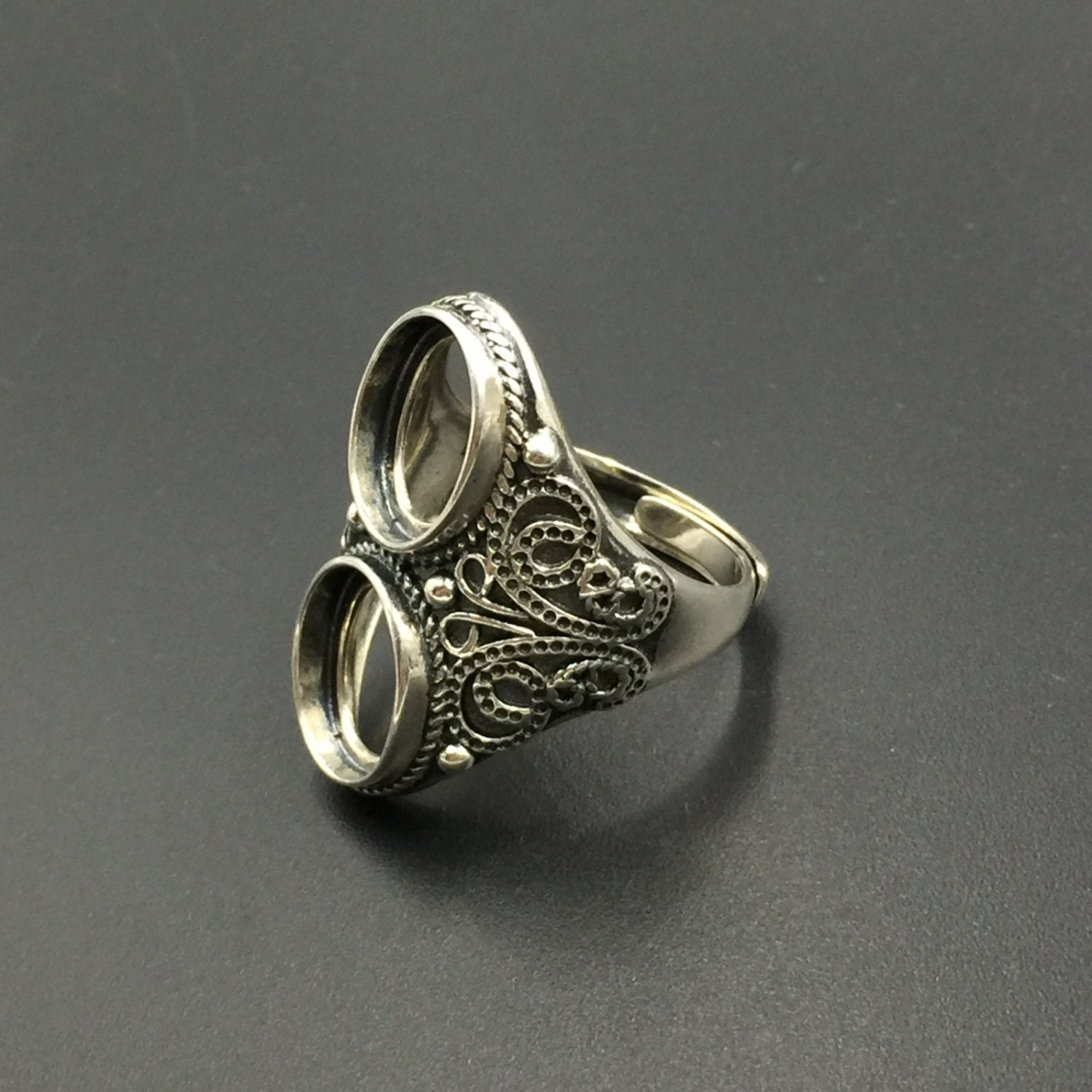 antique sterling silver ring setting two statement ring