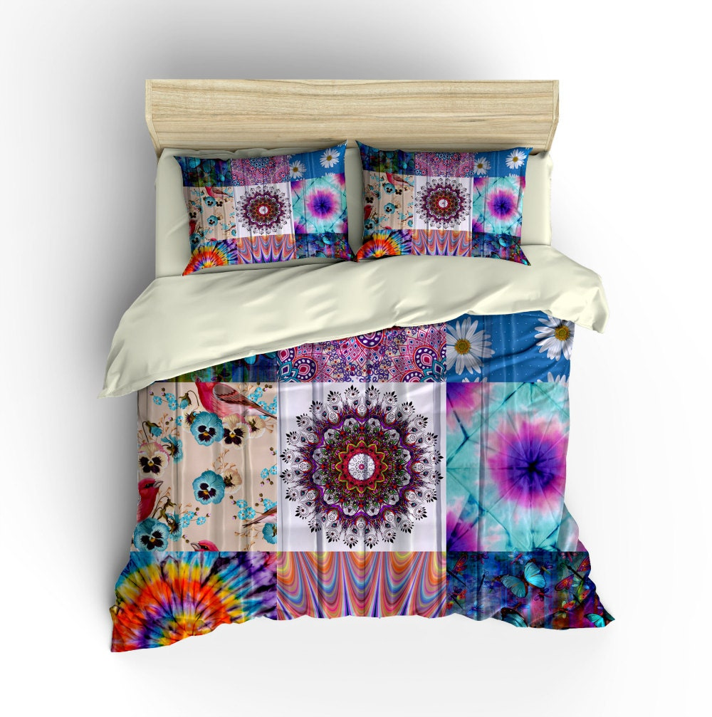 Boho Chic Bedding Duvet Cover Set Gypsy Patchwork Design